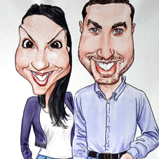 commission a bride and groom caricature for a gift or signing board